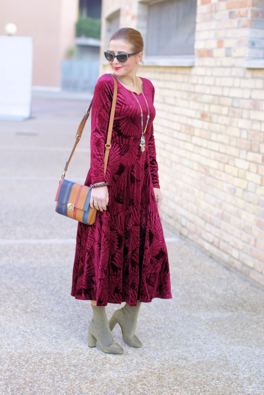 Metisu red velvet maxi dress & sock boots: 70s vibes on Fashion and Cookies fashion blog, fashion blogger style