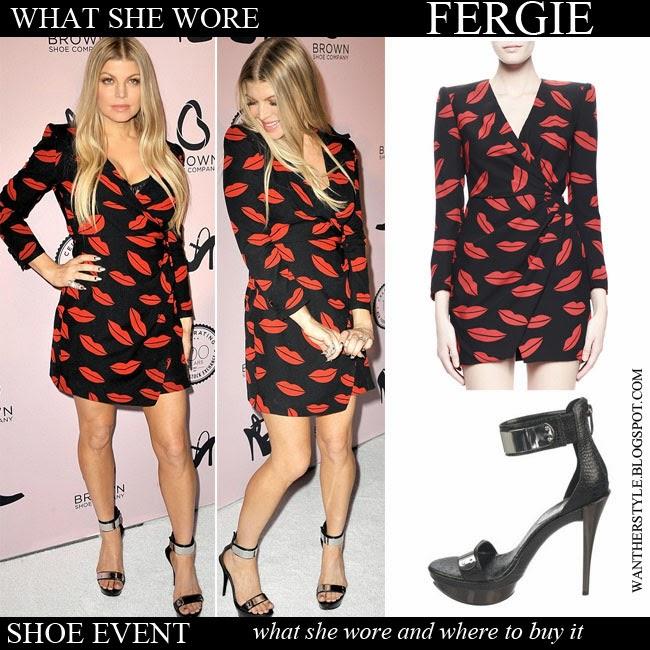 cc37e0883a25 Fergie in black red lips print mini wrap dress Saint Laurent with black  ankle strap platform