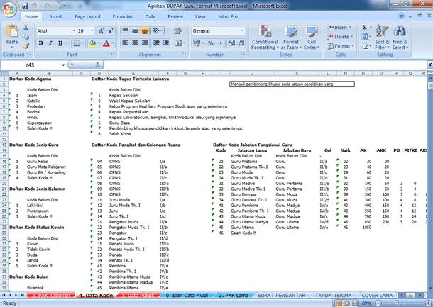 Aplikasi DUPAK Guru Format Microsoft Excel