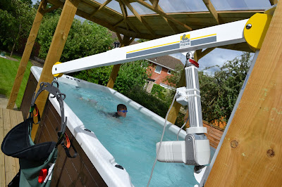 Hoist used for hydrotherapy sessions
