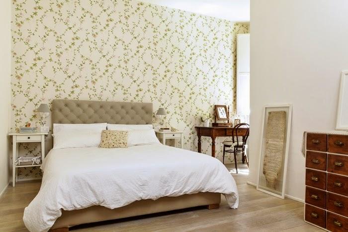 Home decor camera da letto stile vintage for Carta da parati a righe camera da letto
