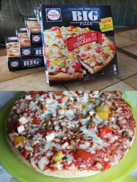Original Wagner Big Pizza BBQ Chicken - Verpackung & aufgebacken