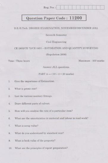 CE2402 / CE72 / CE1401 Estimation and Quantity Surveying Nov