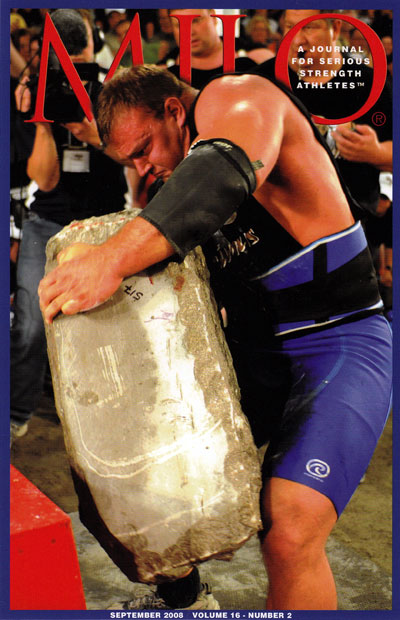 Derek Poundstone loading the 517-pound Louis Cyr stone.  StrengthFighter.com