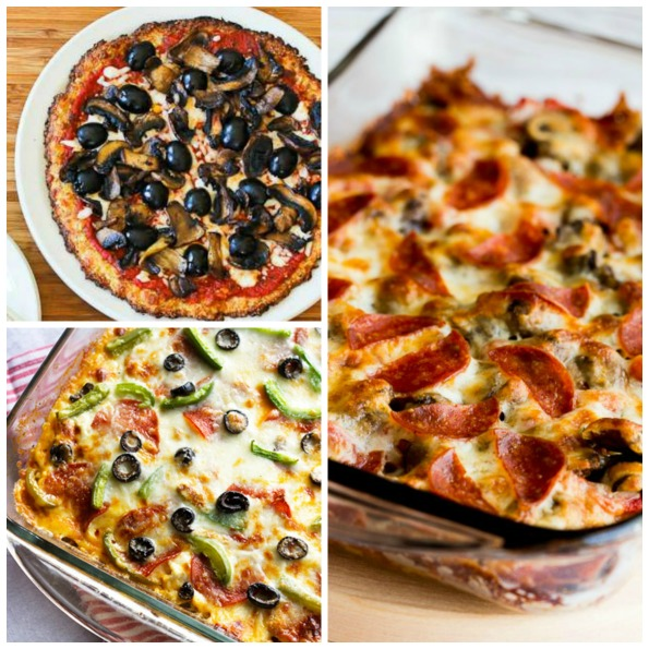 55+ Deliciously Healthy Low-Carb and Gluten-Free Recipes with Pizza Flavors found on KalynsKitchen.com