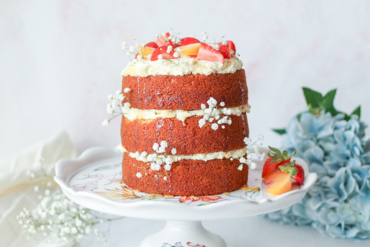 Honey Cake with Peach Mascarpone Frosting