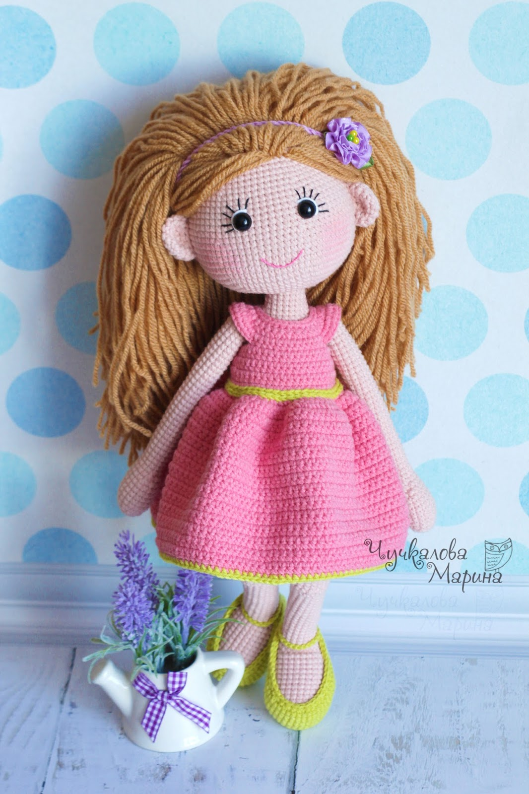 крепление волос у вязаных кукол