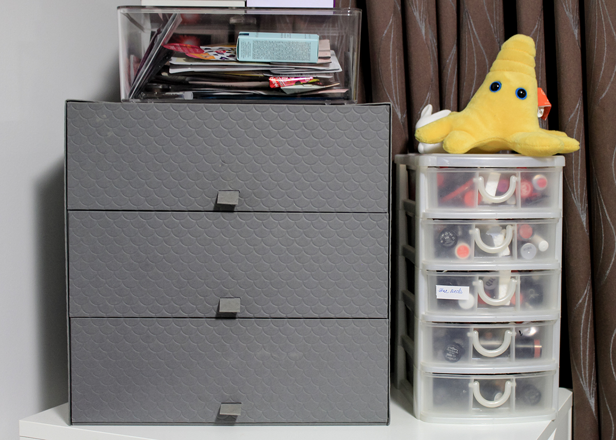 Makeup storage organisation and mini studio update for Cardboard drawers ikea