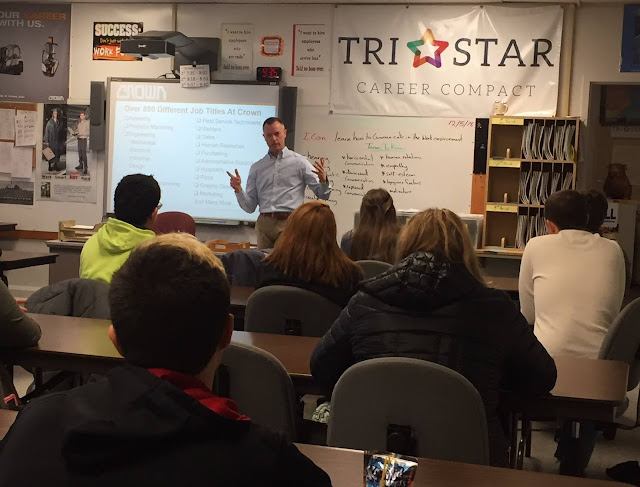 Mr. Curt Cramer addresses class about career opportunities at Crown