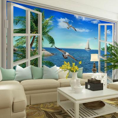 snygg fototapet 3d medelhavet havsutsikt fiskmåsar segelbåt fondtapet vardagsrum