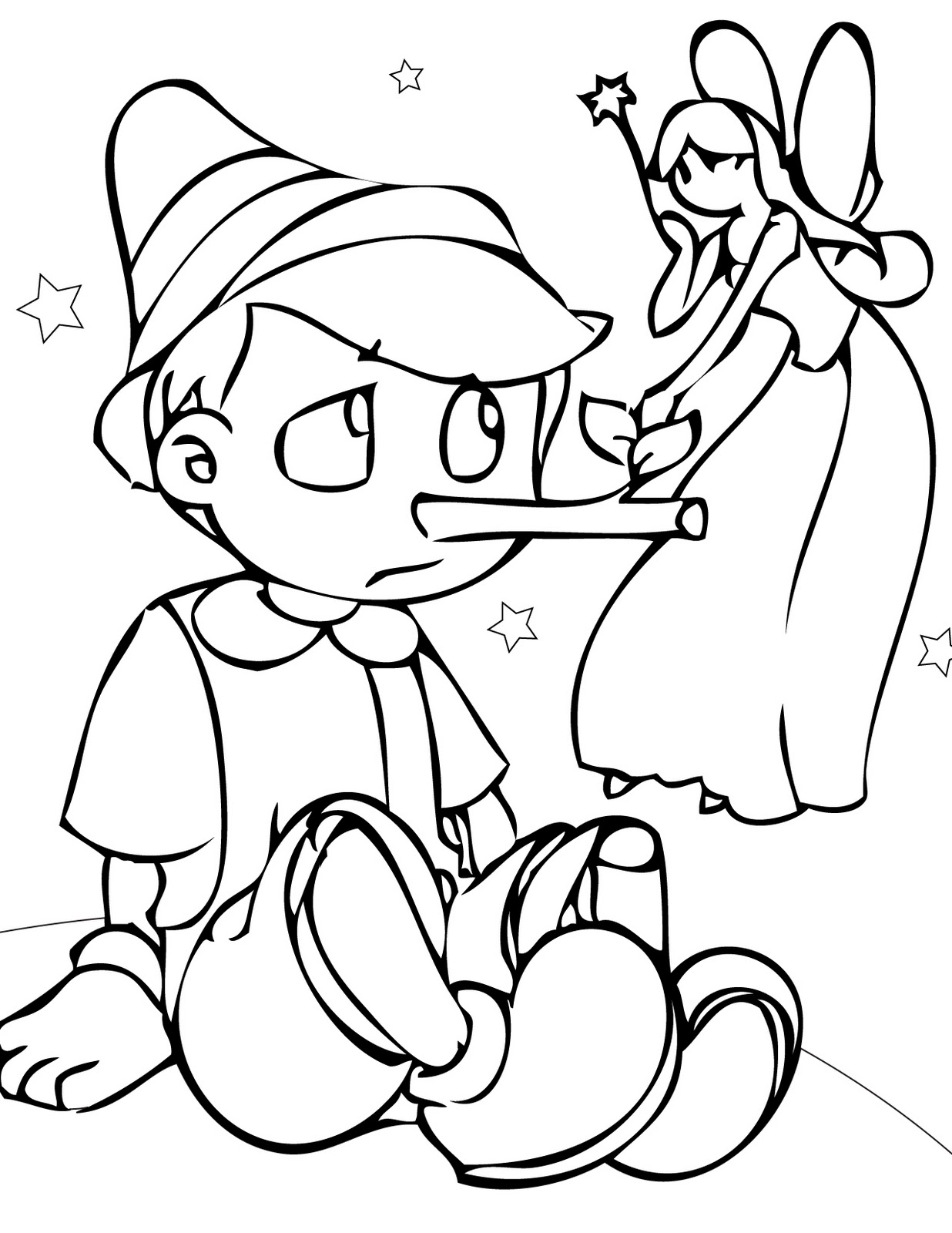 Pinocchio printable of disney characters for drawing kids