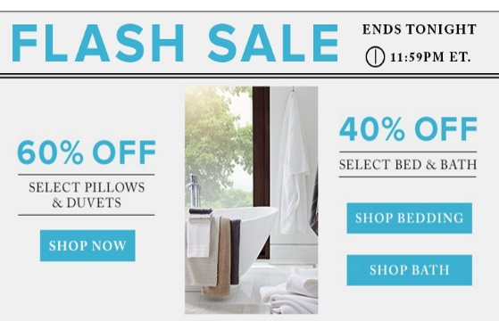 Hudson's Bay Flash Sale 60% Off Pillows + Duvets & 40% Off Bed & Bath