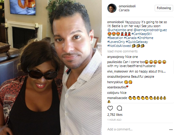 All is well! Omoni Oboli shares new photo of Uche Jumbo and her husband, Kenney Rodriguez as they fly out for a baecation