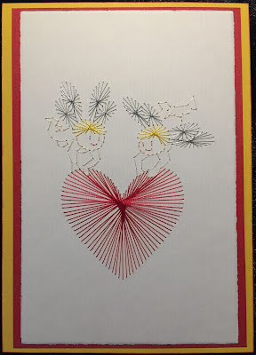 Paper embroidery card love angels heart
