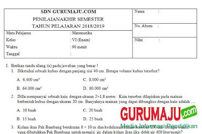 Soal UTS / PTS MTK Kelas 6 Semester 2 Kurikulum 2013 Revisi 2018
