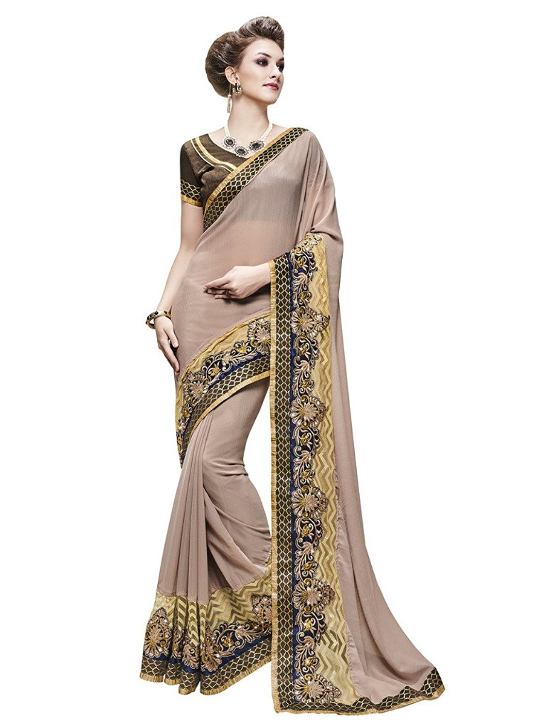 Bahubali Faux Georgette Saree in Off White