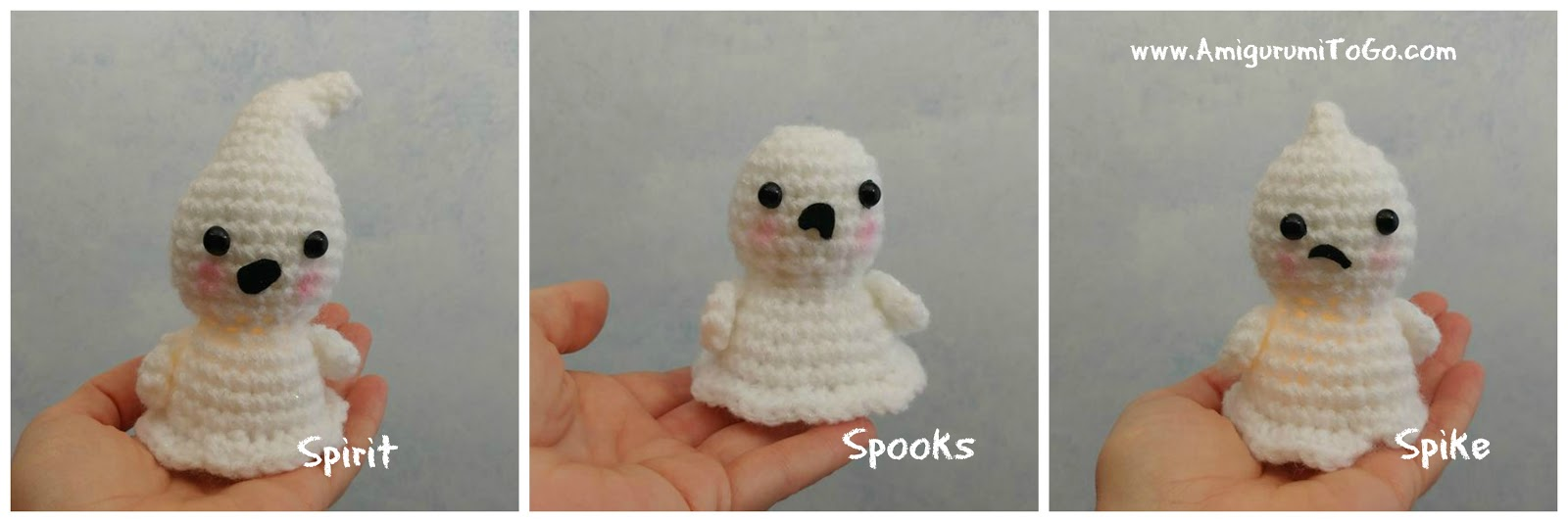 3 white crochet ghosts sitting on hand