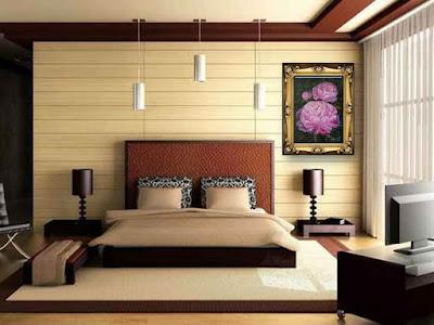 Картина с двумя пионами - символом любви в интерьере спальни