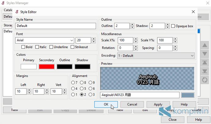 edit tampilan subtitle