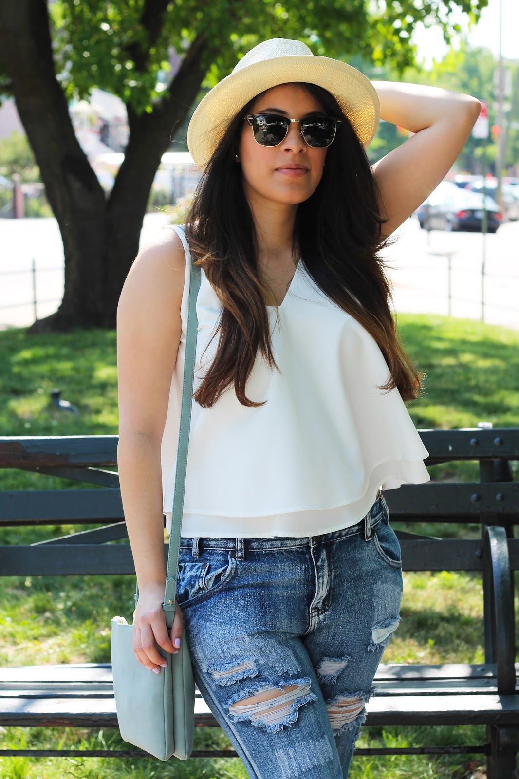 blogger, daniel wellington, distressed, distressed skinny jeans, espadrilles, fashion, kate spade, newyork, nude, oldnavy, panama hat, ray bans, raybans, shoptobi, skinny jeans, style, summer, summer style, tobi, wedges, ray bans clubmaster, sunglasses, white, blush, dress, summer dress, swing dress, lace up sandals, sandals, satchel, cross body, latina, watch, daniel wellington watch