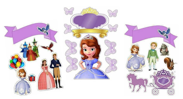 Sofia the First Birthday Free Printable Cake Toppers.