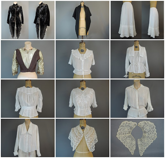 Edwardian & Victorian Clothing, Lace, Ribbons & Dress Trims, 1950s cotton dresses & More!!