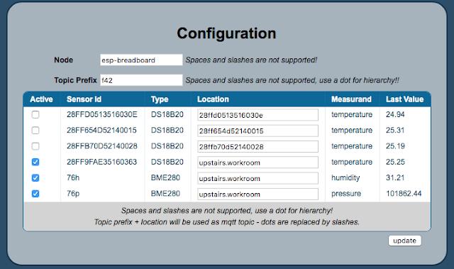SensorNode config page