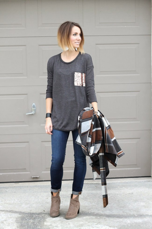Sparkle pocket tunic, dark denim and ankle boots