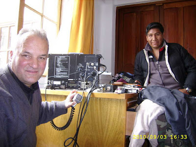 Two of the most active HAMS of CP. On the left hand site cp4xb/3,a military HAM with military equipment. The other one is cp4mg,Martirian,the only one of Bolivia who is active from 6 m to 160 meters