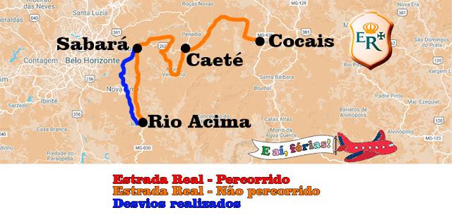 Estrada Real, Caminho Sabarabuçu, mapa