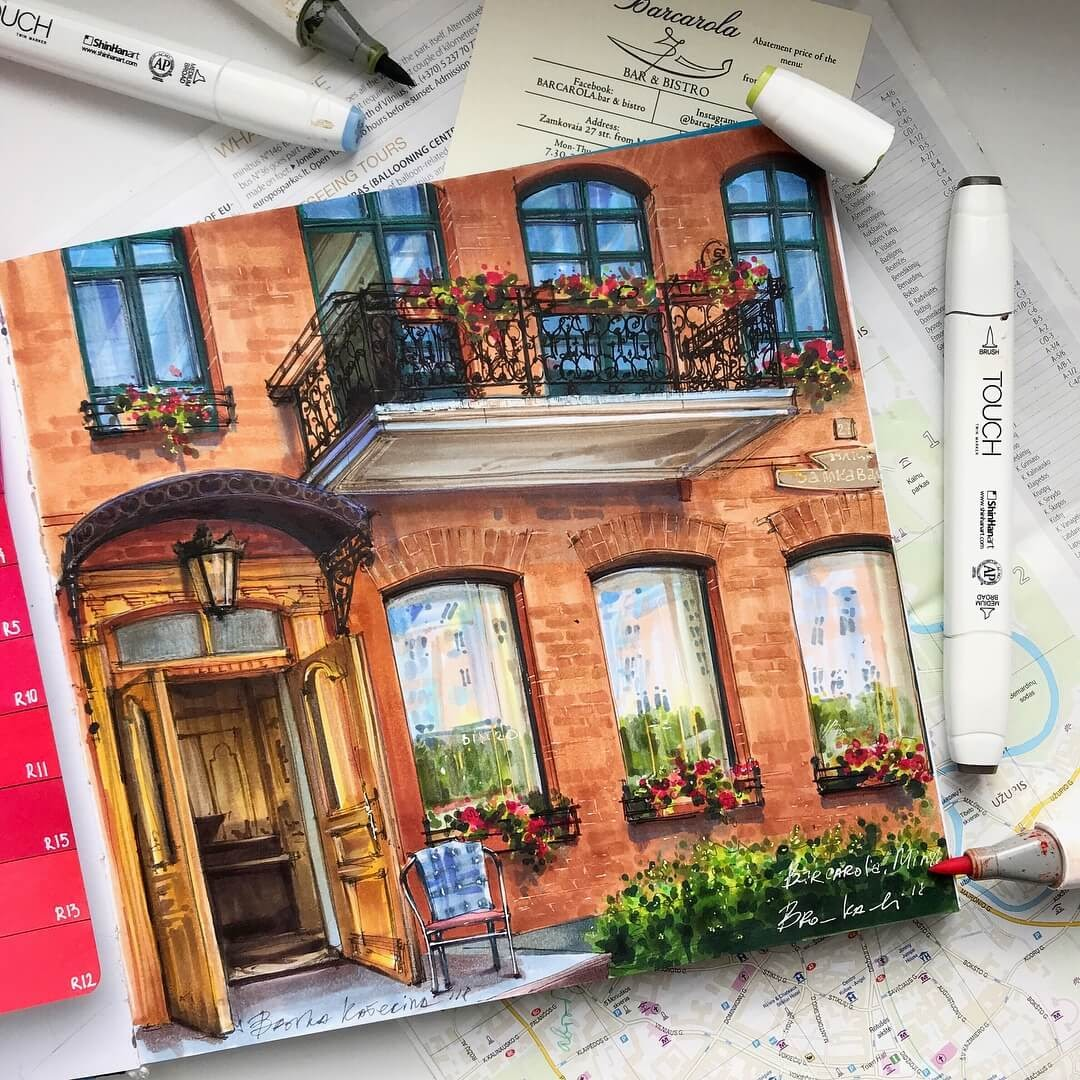 04-Balcony-and-Flowers-Katerina-Brovka-Architecture-in-Bright-Color-Drawings-www-designstack-co