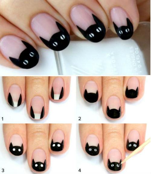 diseños de uñas en negro