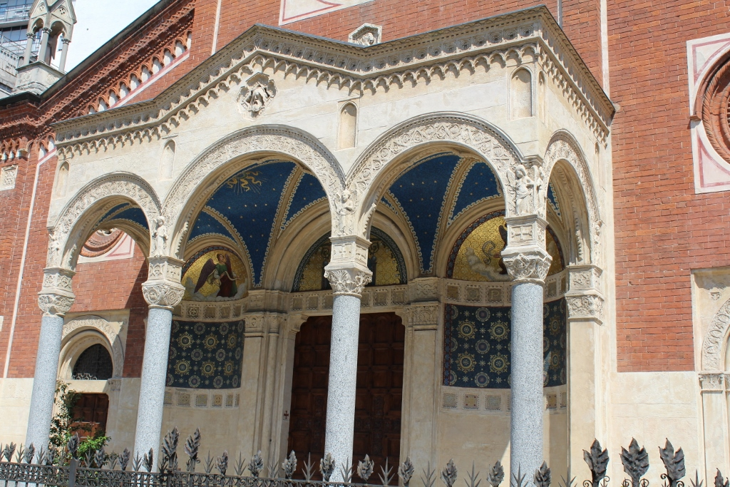 Detailed church archway in Milan