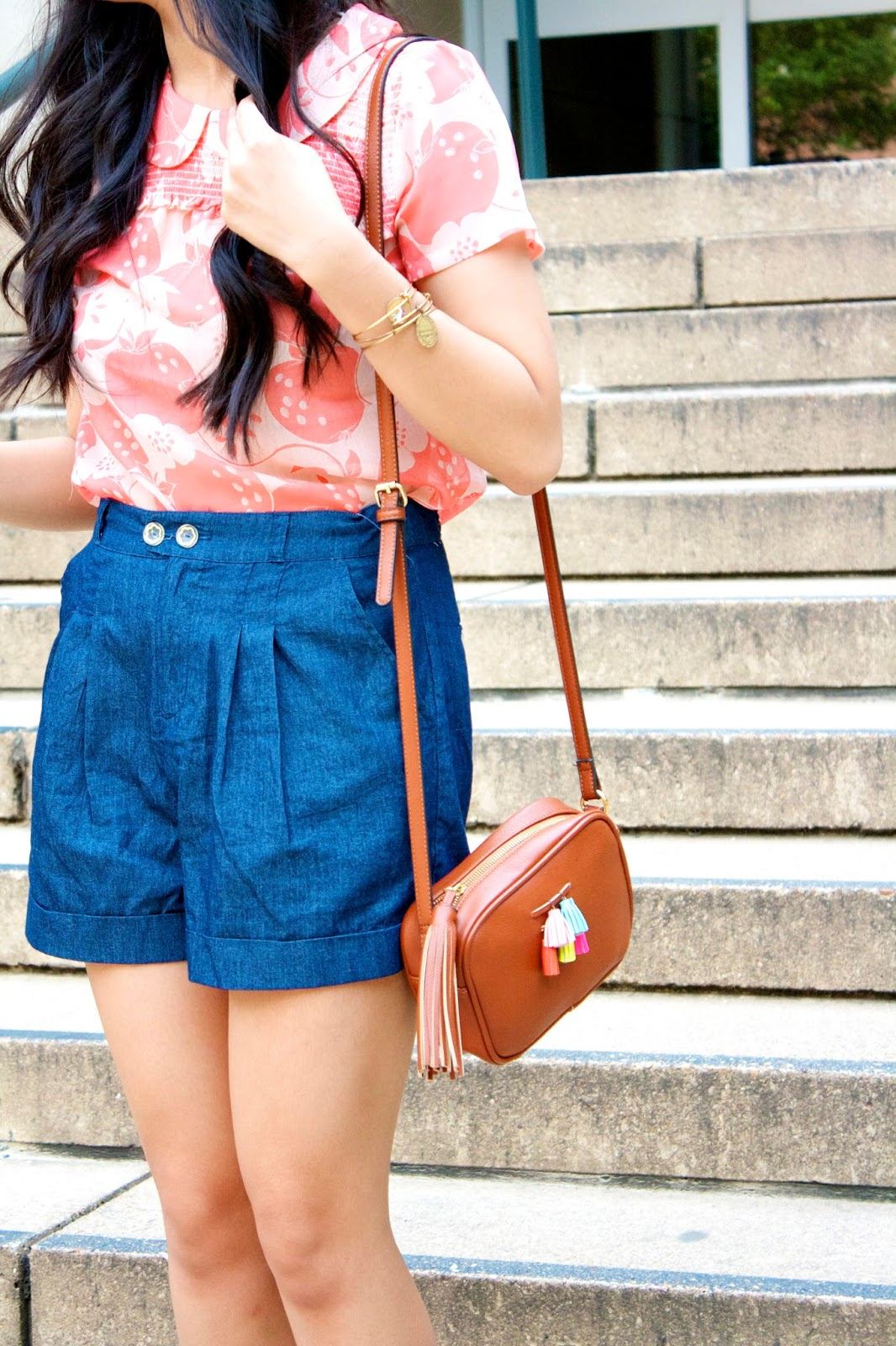 Peach and blue outfit styling