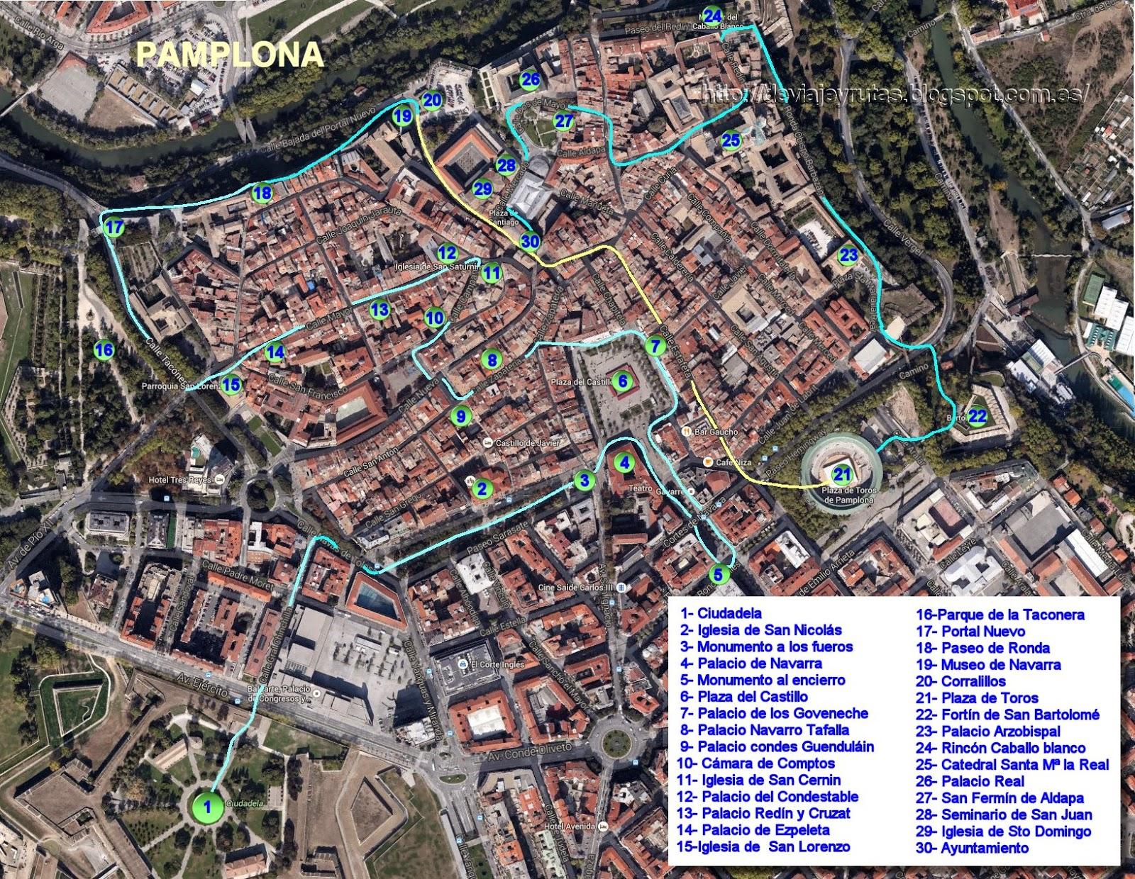 Mapa con todos los puntos turísticos de Pamplona