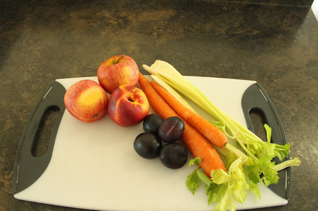 Preparing fruit and veggies for juicing