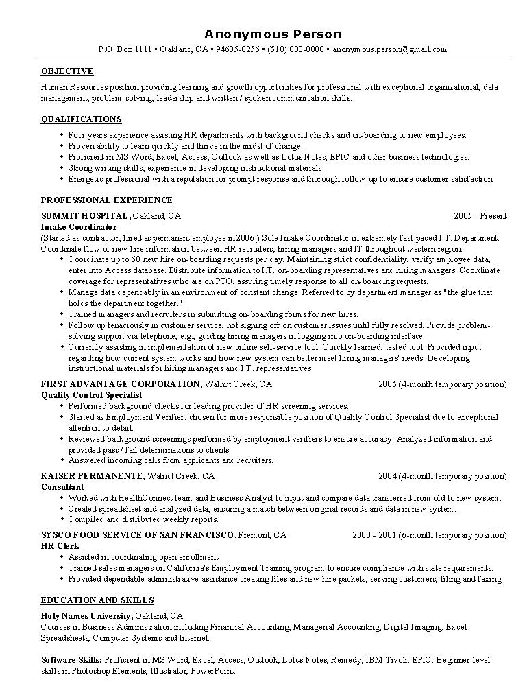 sample human resources resume sample resumes