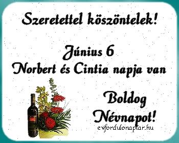 Június 6 - Norbert, Cintia névnap