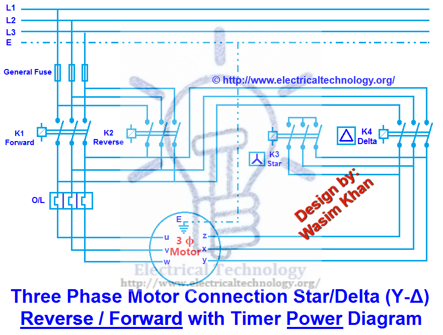 three phase motor connection star/delta (y-Δ) reverse ... l t motor starter circuit diagram 3 phase motor starter circuit diagram