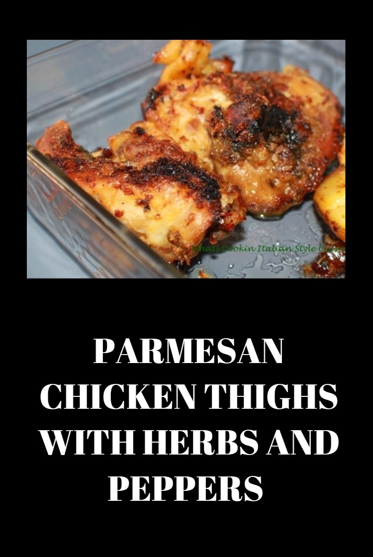 This is a pan of chicken thighs, legs and chicken breasts baked in the oven with parmesan and spices until crispy skin forms