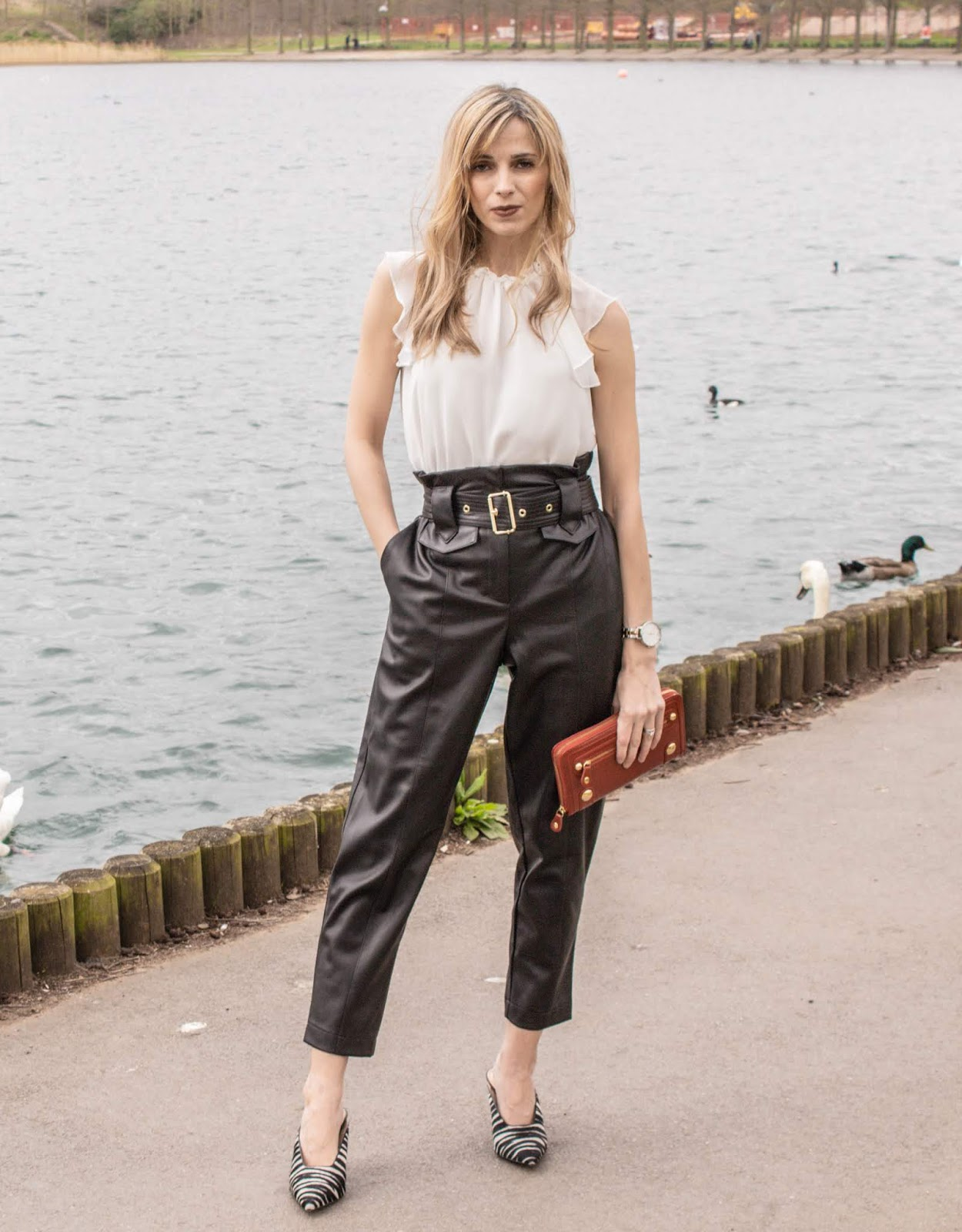 River Island Faux Leather Trousers Outfit