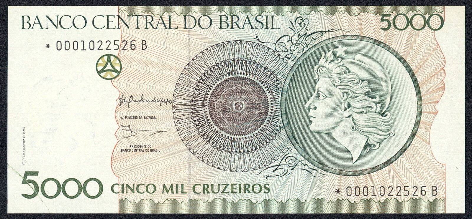 Brazil 5000 Cruzeiros Banknote 1990 World Banknotes Amp Coins Pictures Old Money