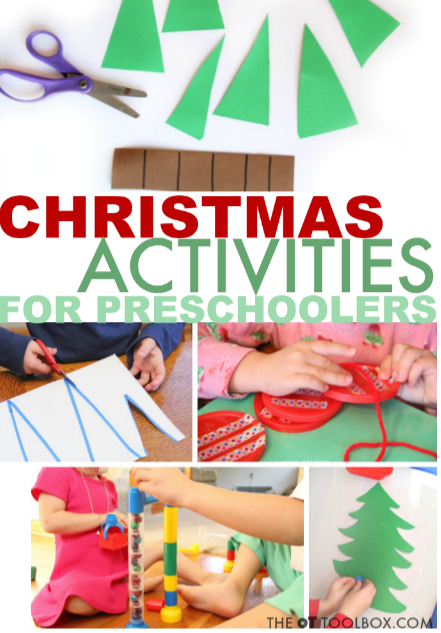 Use these Christmas activities to help preschoolers work on areas like scissor skills, pre-writing skills, and more.