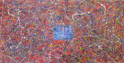 Channeling Jackson Pollock  Oil and embedded video on Gessoed Paper. 2013. 30x60 inches.