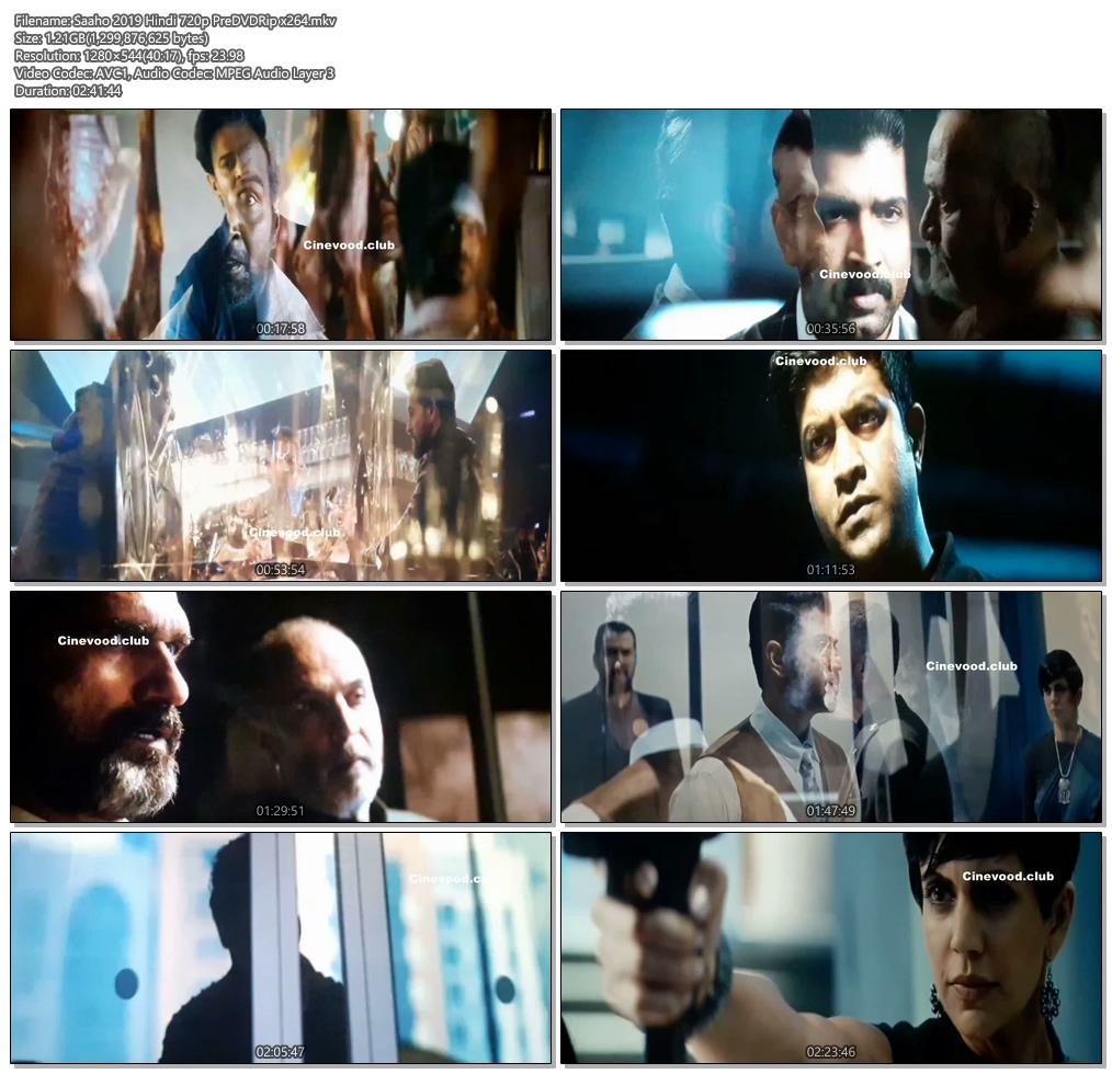 Saaho 2019 Hindi 720p PreDVDRip x264 | 480p 300MB | 100MB HEVC Screenshot