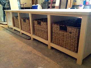 building a mudroom bench with basket cubbies