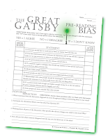 The Great Gatsby learners will enjoy this prereading activity that gets thinking about and discussing (and maybe even engaging in some friendly arguing!). Then after the novel is done, learners will revisit these questions to consider how their minds have stayed the same or changed based on the events, characters, and themes they've just read about and felt.