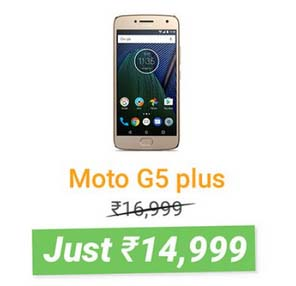 Moto G5 Plus @ ₹14999 + 10% Instant Discount with HDFC Bank Debit & Credit Cards
