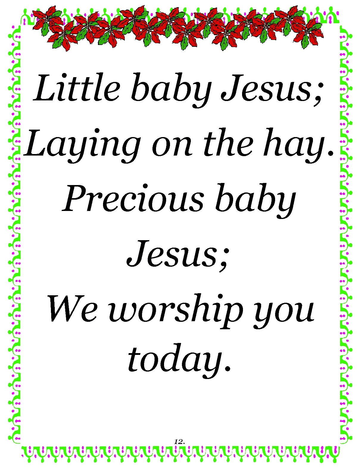 Treasure Box Poetry And Praise: Little Baby Jesus- Christmas Poem