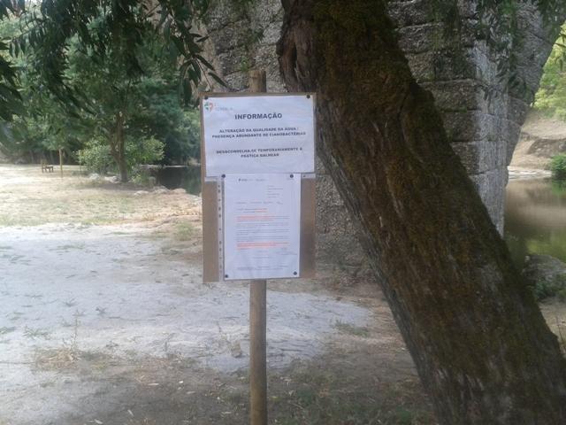 Informação Água Imprópria temporariamente na Praia Fluval de Ferreirós